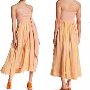 Free People Pink/Yellow Strapless Maxi w/pockets!